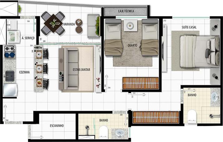 Apartamento Tipo 2q - 60,11m²