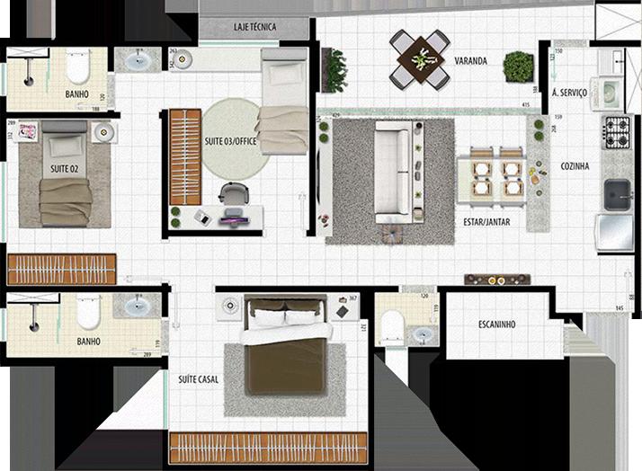 Apartamento Tipo 3q - 80,31m²